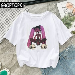 Discount t shirt female skull - Punk Black Girl Gothic Female T-shirt Summer Cotton Hip Hop White Harajuku Top Skull Punk T-shirts Women T Shirts Grunge