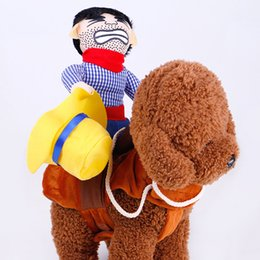 $enCountryForm.capitalKeyWord Canada - DHL 2 Designs Creative Pet Costume Halloween Cowboy Rider Pet Costume 4 Size Dog Cat Clothes Knight Style Funny Pet Party Cosplay Apparel