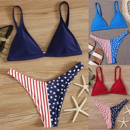 swimsuits flag usa Canada - Women 2020 Triangle Bikini Set Sexy Stars Stripes USA Flag Bikini Padded Bra Swimsuit America Flag Summer Swimwear Beachwear
