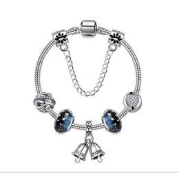 28a6a4814 925 Sterling Silver Murano Glass Beads Blue Starry Stars Fit Pandora Charm  Bracelet Jewelry DIY Christmas Bell Dangle with Crystal Pendant