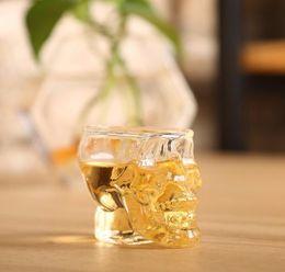 Crystals Souvenir Australia - Hot Sale Crystal Skull Head Vodka Wine Shot Glass Drinking Cup 80ML Skeleton Pirate Vaccum Beer Glass Mug