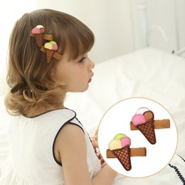 Hair Accessory Embroidery Australia - 12 Pcs Children Leather Embroidery Icecream Hair Clips Princess Barrettes Hairpins Kids Hair Accessories Beautiful HuiLin B123