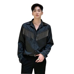 shirt vintage male Australia - Men Metal Tassel Satin Style Long Sleeve Casual Shirt Male Streetwear Vintage Fashion Hip Hop Shirt Lovers Stage Clothing