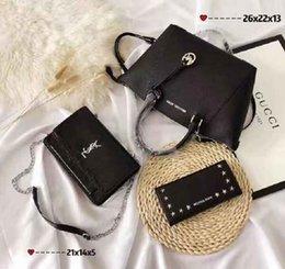 paris flowers 2019 - Package(3 bags) Brand Bag Paris Brand Real Leather Handbag Designer Shopping Bag Shoulder Bag Fashion Clutch Bags Wallet