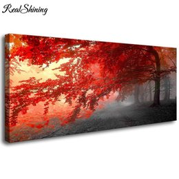 "$enCountryForm.capitalKeyWord UK - Large DIY Diamond Embroidery""Red Tree Landscape"" Full Square Round 5D Diamond Painting Cross Stitch Rhinestones Wall Art FS3889"