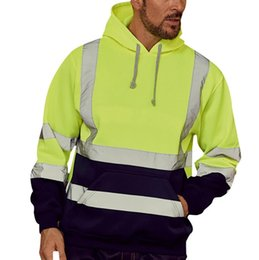 plus size working clothes 2020 - Mens Outdoor Long Sleeve Hooded Coat Running Jogging Reflective Pullover Clothes Male Plus Size Road Work High Visibilit