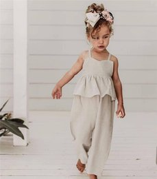 $enCountryForm.capitalKeyWord NZ - INS Infant Toddler Linen Cotton Romper Baby Girls Sleeveless Backless Bow Ruffles Solid Jumpsuit Modis For Kids Clothes Summer Overalls