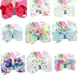 """Coral Hair Accessories Australia - Hot sale 8 Inch""""jojo Girls Siwa Unicorn Collection Coral Colorful Hairpin Large Hair Bows Hair Accessories For Girls 10 PCS"""