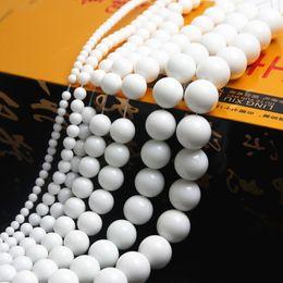 Make Jewellery Metal Australia - Fashion Jewelry 4-12mm Natural Stone White Round Stone Loose Beading Beads for jewelry making Jewellery DIY
