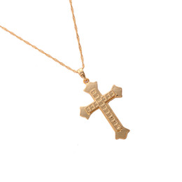 Discount lord prayer pendants - Cross Necklace Pendant Jewelry Bible Lords Prayer Gold Color Brass Christmas Gifts
