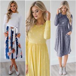 Wholesale skirts midi for sale - Group buy Dress Long Sleeve Female Fashion Print Pocket Tie Round Neck Long Sleeve Midi Skirt Polyester Dress