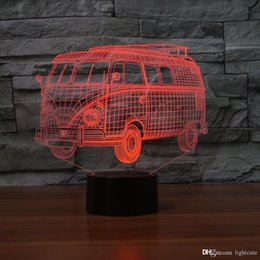 t1 battery NZ - Volkswagen-Transport-T1-Camper 3D Illusion Night Light Touch 7 Color Change Home Decor Baby Girl Boy LED Lamp Kids Gift Christmas Xmas Gift