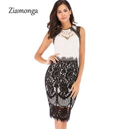 white midi pencil dress 2019 - Ziamonga Floral Lace Sexy Party Dresses Women O-Neck Bodycon Elegant Dresses Summer Midi Pencil Office Female Vestidos c