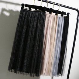 $enCountryForm.capitalKeyWord Australia - Gigogou Tulle Skirts Womens Black Gray Spring Summer Elastic High Waist Pleated Midi Skirt Ankle Length Lurex Tutu Skirt S514