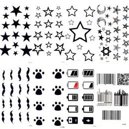 Black moon tattoo online shopping - Black Stars Sky Moon Paw Waterproof Kids Tattoo Women Body Finger Arm Art Temporary Tatoo Men Hands Paste Ear Tattoo Stickers