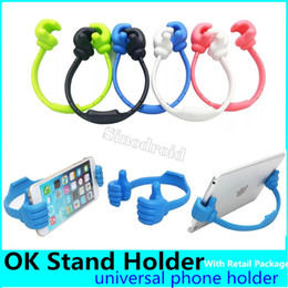 plastic beds wholesale Australia - Cute Ok Thumb Phone Stand Holder Plastic Meterial Beautiful Color Durable Mobile Phone Mount Bracket For Phone Ipad Tablet pc Lazy Bed