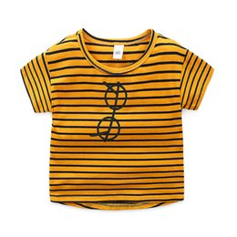 $enCountryForm.capitalKeyWord UK - Cotton Striped Cartoon glass print boys t shirt O Neck short sleeves girls tops tees 2019 Toddler Fashion kids clothing