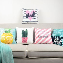 Modern pop art paintings online shopping - Watercolor Painting Summer Cactus Pineapple Cushion Covers Nordic Modern Colorful Stripes POP Art Cushion Cover Sofa Velvet Pillow Case