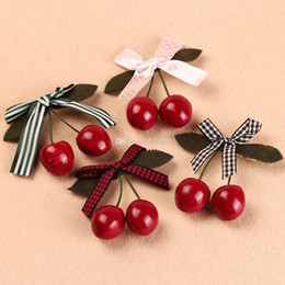 Wholesale Girls Hair Clips Cherry Australia - 7 Pcs Women Girls Retro Multicolor Bowknot Cherry Hair Clips Hairpins Lovely Hair Pins Jewelry Headdress Gift Free Shipping