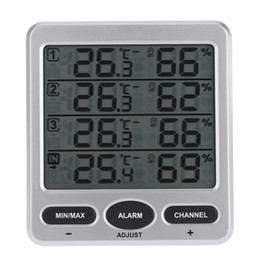 $enCountryForm.capitalKeyWord Australia - Freeshipping Multi-Function Lcd Wireless 8-Channel Indoor Outdoor Temperature and Humidity Meter with Four Remote Sensor Alarm Function