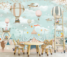 hot air balloon wall stickers UK - AINYOOUSEM Beautiful cartoon hot air balloon background wall papier peint papel de parede wallpaper 3d wallpaper stickers