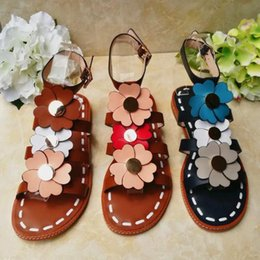 $enCountryForm.capitalKeyWord Australia - Free shipping 2017 summer genuine leather romantic bohemian women's floral sandals flat