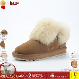 $enCountryForm.capitalKeyWord NZ - INOE fashion real sheepskin leather suede fur lined women rabbit fur winter short ankle snow boots for girls zipper winter shoes