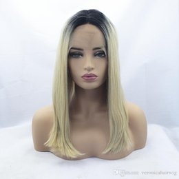 Discount straight blonde wig roots - Free Shipping Natural High Temperature Middle Part Fiber 16inch Straight Bob Blonde Ombre Dark Roots Synthetic Lace Fron