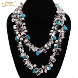 "big choker pearl necklace 2020 - JYX 618 BIG SALE!Classic Design Blue Turquoise necklace with crystal pearls chain 6*7-10*14mm elegant 38"" gift disc"
