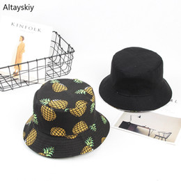 $enCountryForm.capitalKeyWord Australia - Bucket Hats Women Fruit Printed Double-sided Wear Casual Fisherman Hat Womens Summer Korean Style All-match Simple Trendy Chic