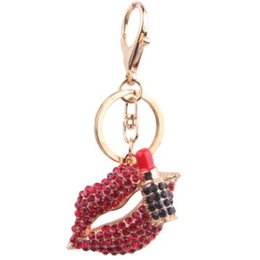 China PASSION SEX RED LIP LIPSTICK TOP GRADE PENDANT KEYCHAIN KEYRING NICE KEY ACCESSORIES KEY CHAIN KEY RING FOR LEATHER STRAP BELT BAG CAR supplier nice lipstick suppliers