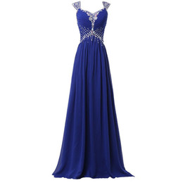 Chinese  Beaded Long Chiffon Bridesmaid Dresses with Cap Sleeve 2019 Royal Blue Wedding Guest Dress Robe Demoiselle D'Honneur manufacturers