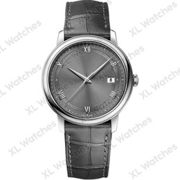 Dress Display Case Australia - Mens Luxury Watches 424.13.40.20.06.001 leather strap 8215 mechanical movement 316L steel case sapphire mirror gray dial date display A122-1