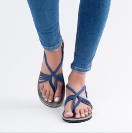 de199655d90c Women Roman Gladiator Flats Sandals Slingback Bohemia Summer Beach Shoes  casual slippers Toe Sandals Espadrilles KKA6574