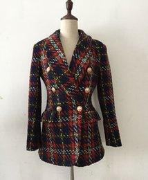 Neu mit Label-Marke B Top-Qualität Original Design Damen Zweireiher Metallschnalle Blazer Plaid Slim Jacke Tweed