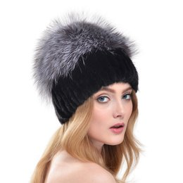 Fur Pom Hats Australia - 2016 New Winter Russia Style Knitted Mink Fur Hat With Large Silver Fox Fur Top Pom Poms Beanies Elegant Women Fur Cap LH312 D19011503