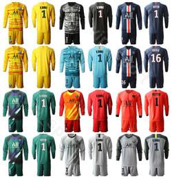 Soccer goalie jerSey online shopping - Men GK Paris Germain Keylor Navas Long Sleeve Goalkeeper Jersey Set Goalie SERGIO RICO AREOLA BULKA Trapp Football Shirt Kit