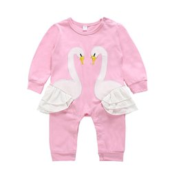 57ae99e7302c Baby girls pink swan romper cartoon infant animal Jumpsuits kids Climbing clothes  baby girls rompers 2019 hot sell