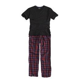 100% Cotton Mens Short-sleeved Pajama Set O-neck Black T-shirt Plaid Trousers Mens Pajamas Autumn Sleepwear Plus Size For 95kg Men's Pajama Sets Men's Sleep & Lounge