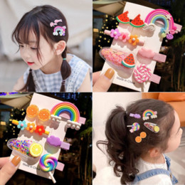 Rainbow lollipop colorful Sofa sofa quicksand hairpin children's cute hairpin little girl's baby's hair accessory clip on Sale