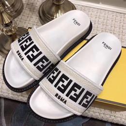 $enCountryForm.capitalKeyWord Australia - 2019 men and women fashion thick Molded rubber foot bed slide sandals Beige ebony print Slipper Flip Flop size 35-45 with original box