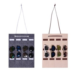 Discount wholesale jewelry sunglasses - 12 Slot Felt Sunglasses Storage Wall Hanging Bag Glasses Finishing Exhibition Display Holder Container 517F