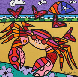 "art deco picture framing NZ - Romero Britto Cartoon Art Wall Deco ""A Crab"" Home Decor Handpainted &HD Print Oil Painting On Canvas Wall Art Canvas Pictures 191031"