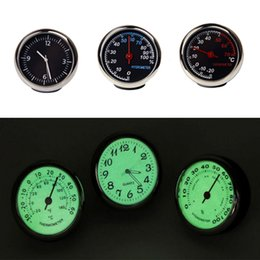 digital dashboard cars Canada - Auto Digital Clock Mini Car Auto Fluorescent Watch Thermometer Hygrometer Dashboard Decoration Ornament Clock In Car Accessories