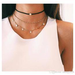 Plastic Chains Halloween Australia - Bohemian Multi layer Pendant Necklaces For Women Fashion Golden Geometric Charm Chains Necklace Jewelry Necklaces A0023