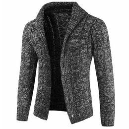 eb028f3bebb9d High Street Fashion Mens abrigos suéter de lana gruesa Sweatercoats estilo  europeo hombre suéteres abrigo de lana de punto Cardigan 2019 A388