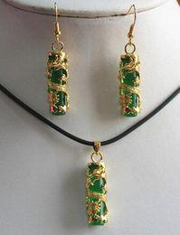 $enCountryForm.capitalKeyWord Australia - black stone Dragon New Fashion Unique Chinese Green stone + Pendant Earring NATURAL Quartz Women Wedding free shipping