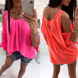 ddb3f0c8f16 Summer Shirt Womens Tops And Blouse 2019 Tops Off Shoulder Boho Lace Shirt  Hollow Out Sexy Tunic Ladies Loose Casual Female