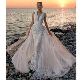 Full Tulle Wedding Dress Australia - Modest Full Lace Beach Wedding Dresses V Neck Backless Overskirt Bohemian Wedding Gown Tulle Train Summer Bridal Dress