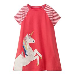 Discount down fur lined - Unicon Girls Dresses Cartton Horse Girls Dresses kids designer clothes 100% Cotton Quality Striped Contrast Toddler Girl